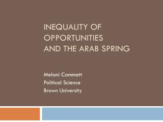 Inequality of Opportunities  and the  Arab spring