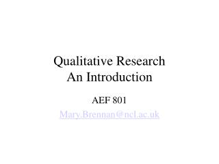 Qualitative Research An Introduction