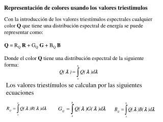 Representación de colores usando los valores triestimulos