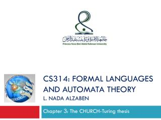 Chapter  3 :  The CHURCH-Turing thesis