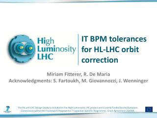IT BPM tolerances for HL-LHC  orbit correction