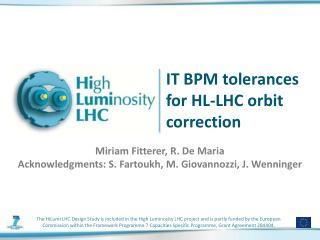 IT BPM tolerances for HL-LHC  orbit correction