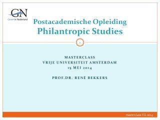 Postacademische Opleiding  Philantropic  Studies