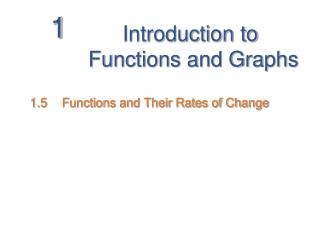 Introduction to  Functions and Graphs