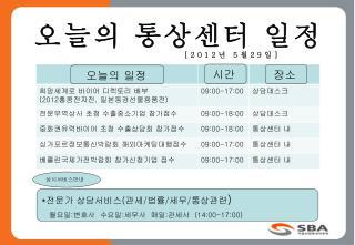 오늘의 통상센터 일정                      [2012 년  5 월 29 일 ]