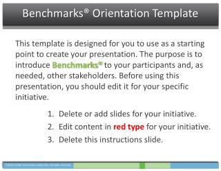 Benchmarks®  Orientation Template