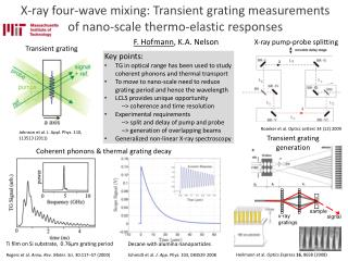 Key points: TG in optical range has been used to study coherent phonons and thermal transport