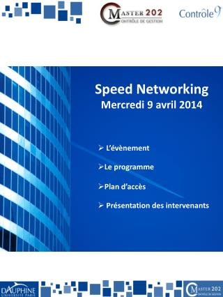 Speed Networking Mercredi 9 avril 2014