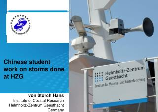 Chinese student work on storms done at HZG