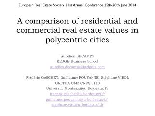 A comparison of residential and commercial real estate values in polycentric cities