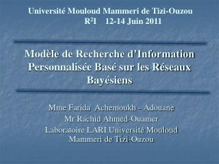 Modèle  de Recherche d'Information Personnalisée Basé sur les Réseaux Bayésiens