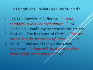 2 Corinthians – What Have We Studied?