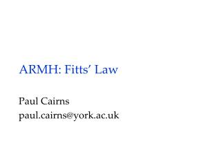 ARMH :  Fitts ' Law
