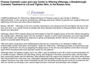 Finesse Cosmetic Laser and Lipo Center is Offering Ultherapy