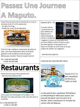 Passez Une Journee A Maputo.