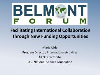 Facilitating International Collaboration through New Funding  Opportunities