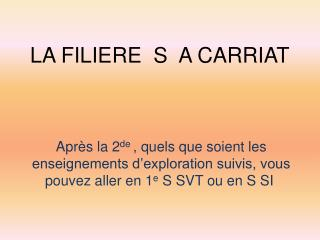 LA FILIERE  S  A CARRIAT
