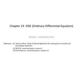 Chapter 23  ODE Ordinary Differential Equation