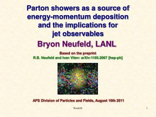 Parton showers as a source of  energy-momentum deposition  a nd the implications for