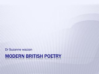 Modern British Poetry