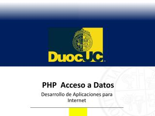 PHP   Acceso a Datos