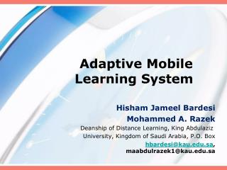 Adaptive Mobile Learning System