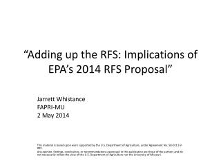 """Adding up the RFS: Implications of EPA's 2014 RFS Proposal"""