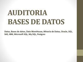 AUDITORIA BASES DE DATOS