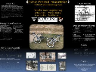 Human-Powered Transportation The NASA Great Moonbuggy Race Powder River Engineering