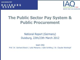 The Public Sector Pay System &  Public Procurement