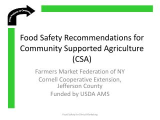 Food Safety Recommendations for  Community Supported Agriculture (CSA)