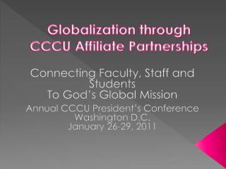 Globalization through CCCU Affiliate Partnerships
