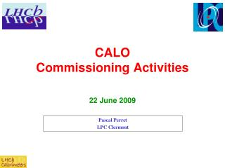 CALO Commissioning Activities