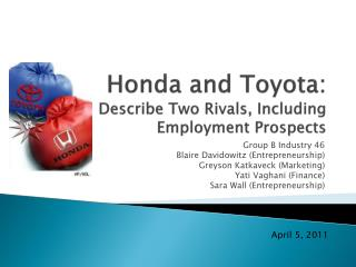 Honda and Toyota: Describe Two Rivals, Including Employment Prospects