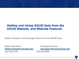 Getting and Using SSUSI Data  f rom the SSUSI Website, and Website Features