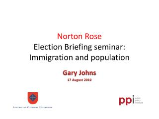 Norton Rose  Election  Briefing seminar: Immigration and population