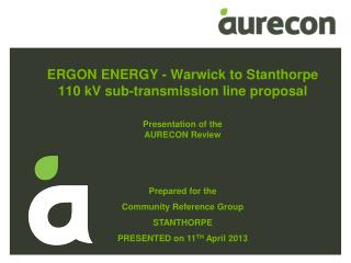 ERGON ENERGY - Warwick to  Stanthorpe 110 kV sub-transmission line proposal