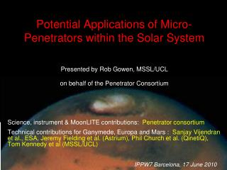 Potential Applications of Micro-Penetrators within the Solar System