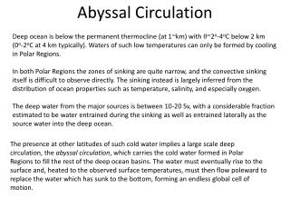 Abyssal Circulation