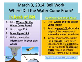 March 3 , 2014  Bell Work Where Did the Water Come From?
