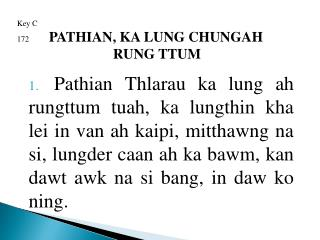 Key C 172 PATHIAN, KA LUNG CHUNGAH RUNG TTUM