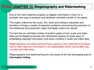 CHAPTER 13: Steganography and Watermarking