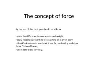 The  concept of  force
