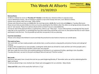 This Week At  Allsorts 21/10/2013