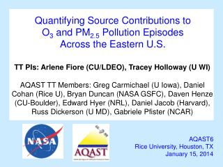 Quantifying Source Contributions to  O 3 and PM 2.5  Pollution Episodes  Across  the Eastern U.S.