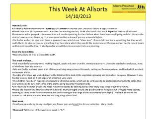 This Week At  Allsorts 14 / 10/2013