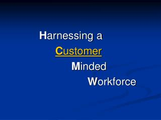 Harnessing a     Customer      Minded       Workforce