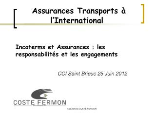 Assurances Transports � l�International