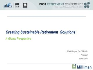 Creating Sustainable Retirement  Solutions A Global Perspective
