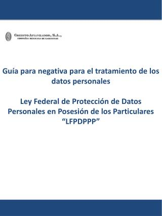 Guía para negativa para el tratamiento de los datos personales